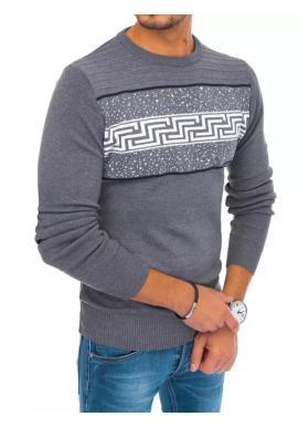 Tmavosivý štýlový sveter so vzorom pre pánov