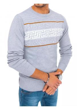 Štýlový pánsky sveter svetlosivej farby so vzorom