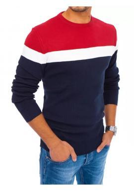 Tmavomodrý jesenný sveter s kontrastnými pruhmi pre pánov