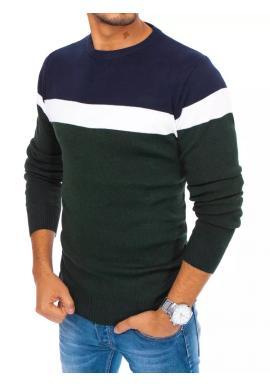 Jesenný pánsky sveter zelenej farby s kontrastnými pruhmi