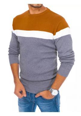 Pánsky jesenný sveter s kontrastnými pruhmi v svetlosivej farbe