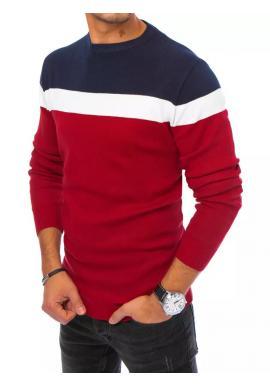 Bordový jesenný sveter s kontrastnými pruhmi pre pánov
