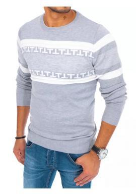 Módny pánsky sveter svetlosivej farby so vzorom