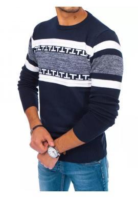 Pánsky módny sveter so vzorom v tmavomodrej farbe
