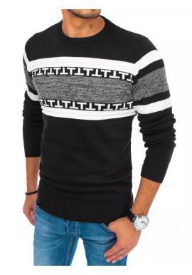 Čierny módny sveter so vzorom pre pánov