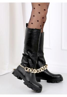 Módne dámske čižmy čiernej farby so zlatou retiazkou