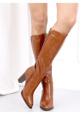 Hnedé lícové čižmy na stabilnom opätku pre dámy