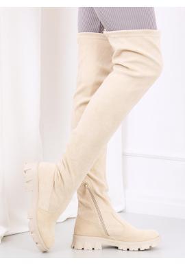 Semišové dámske čižmy nad kolená béžovej farby s vysokou podrážkou