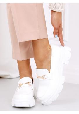 Dámske módne mokasíny s hrubou podrážkou v bielej farbe