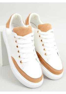 Klasické dámske tenisky bielo-hnedej farby so semišovými vložkami