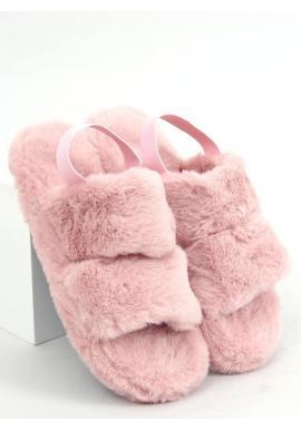 Dámske kožušinové papuče s gumičkou v staroružovej farbe