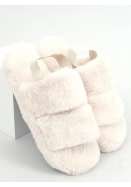 Krémové kožušinové papuče s gumičkou pre dámy