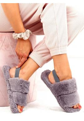 Kožušinové dámske papuče sivej farby s gumičkou