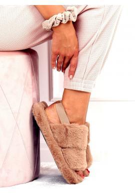 Dámske kožušinové papuče s gumičkou v tmavobéžovej farbe