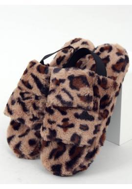 Leopardie kožušinové papuče s gumičkou pre dámy