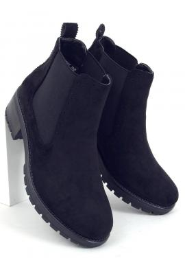 Semišové dámske topánky čiernej farby s jemným vzorom