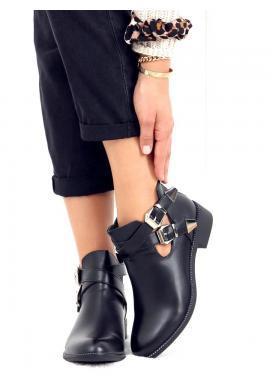 Čierne členkové topánky s prackami pre dámy