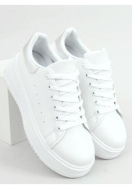 Bielo-strieborné klasické tenisky s vysokou podrážkou pre dámy