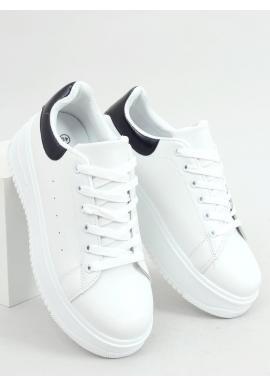 Dámske klasické tenisky s vysokou podrážkou v bielo-čiernej farbe