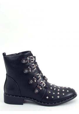 Štýlové dámske topánky čiernej farby s vybíjaním a prackami