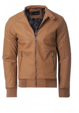 Zimná pánska kožená bunda hnedej farby s kožušinovou podšívkou