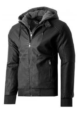 Pánska zimná kožená bunda s kožušinovou podšívkou v čiernej farbe