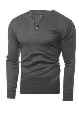 Pánsky elegantný sveter s ozdobnými gombíkmi v sivej farbe