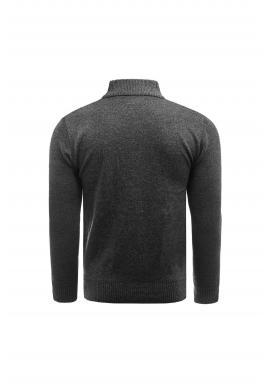 Elegantný pánsky sveter tmavosivej farby s ozdobnými gombíkmi