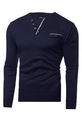 Tmavomodrý elegantný sveter s ozdobnými gombíkmi pre pánov
