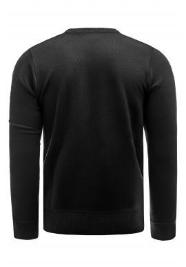 Pánsky elegantný sveter s ozdobnými gombíkmi v čiernej farbe