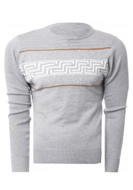 Sivý klasický sveter so vzorom pre pánov