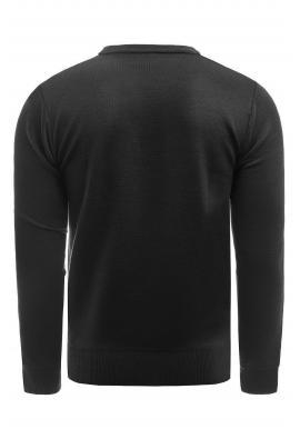 Pánsky klasický sveter so vzorom v čiernej farbe