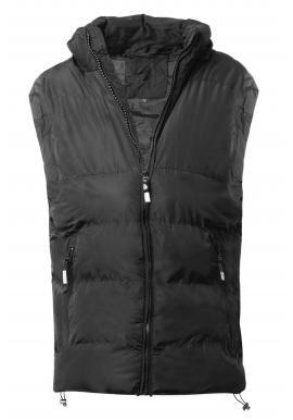 Čierna oteplená vesta s kapucňou pre pánov