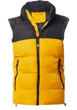 Pánska oteplená vesta s kapucňou v ťavej farbe
