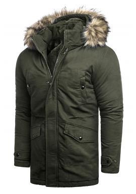 Khaki dlhšia bunda na zimu pre pánov
