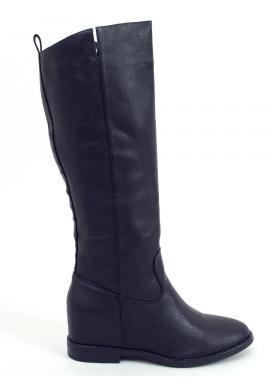 Lícové dámske čižmy čiernej farby na skrytom opätku