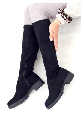 Klasické dámske semišové čižmy čiernej farby