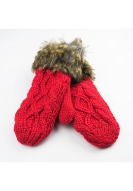 Červené vlnené rukavice so šnúrkou pre dámy