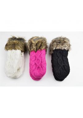 Dámske vlnené rukavice so šnúrkou v ružovej farbe