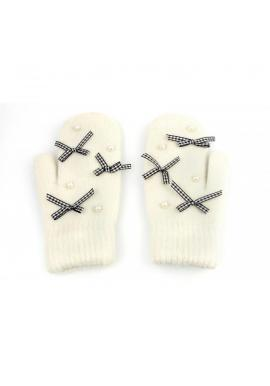 Zimné dámske rukavice krémovej farby s mašľami