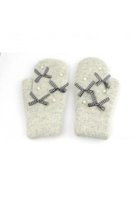 Dámske zimné rukavice s mašľami a perlami v sivej farbe