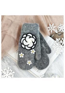 Tmavosivé zimné rukavice s kvetmi pre dámy