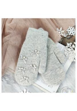 Sivé zimné rukavice s mašľami a perlami pre dámy