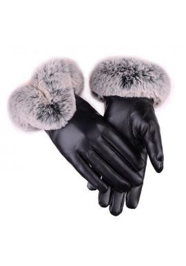 Dámske kožené rukavice s kožušinou v čiernej farbe