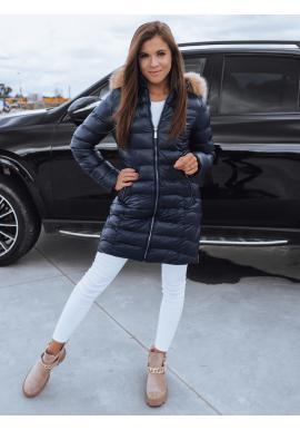 Modrá prešívaná bunda na zimu pre dámy