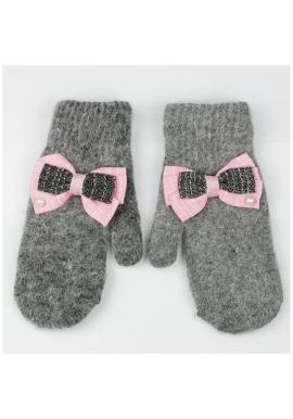 Sivé zimné rukavice s mašľami pre dámy