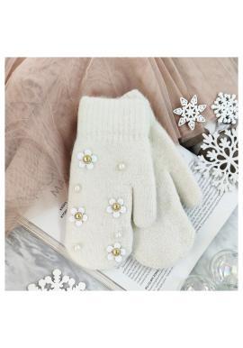 Dámske zimné rukavice s kvetmi a perlami v béžovej farbe