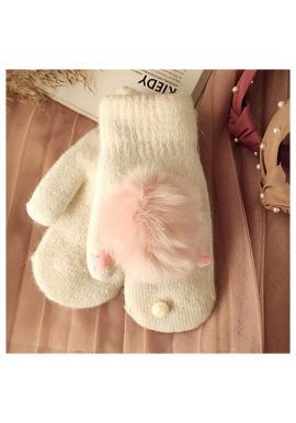 Zimné dámske rukavice béžovej farby s pompónmi