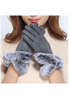 Sivé teplé rukavice s kožušinou pre dámy
