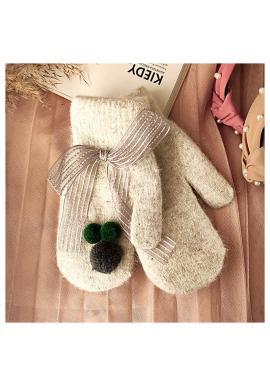 Dámske zimné rukavice s pompónmi a mašľou v sivej farbe